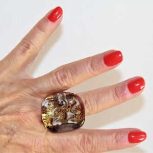 Gorgeous Murano of Italy Glass Ring.